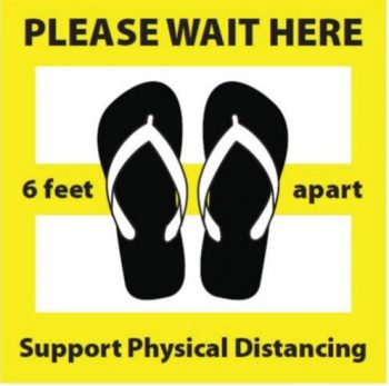 Please wait here with graphic illustration of rubber slippers, words: 6 feet apart, support physical distancing.