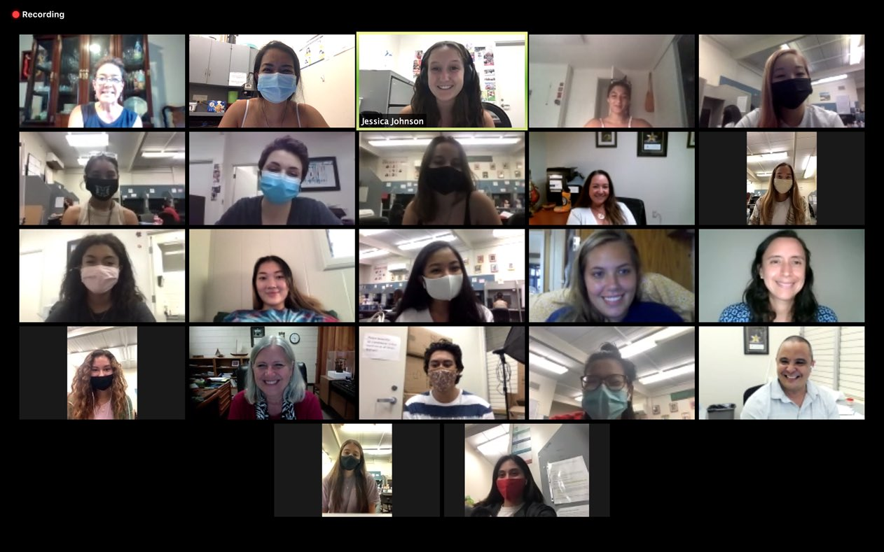 Screenshot of online meeting with student fundraisers.