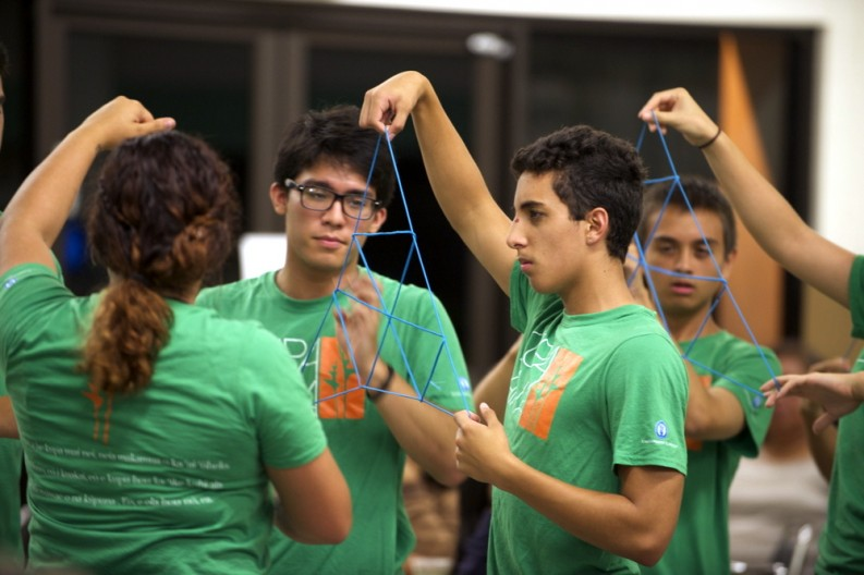 Students do Hawaiian string figures to chant, Mele Kumu Honua (creation of the the Hawaiian islands).