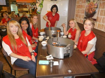 Group at table in restaurant.