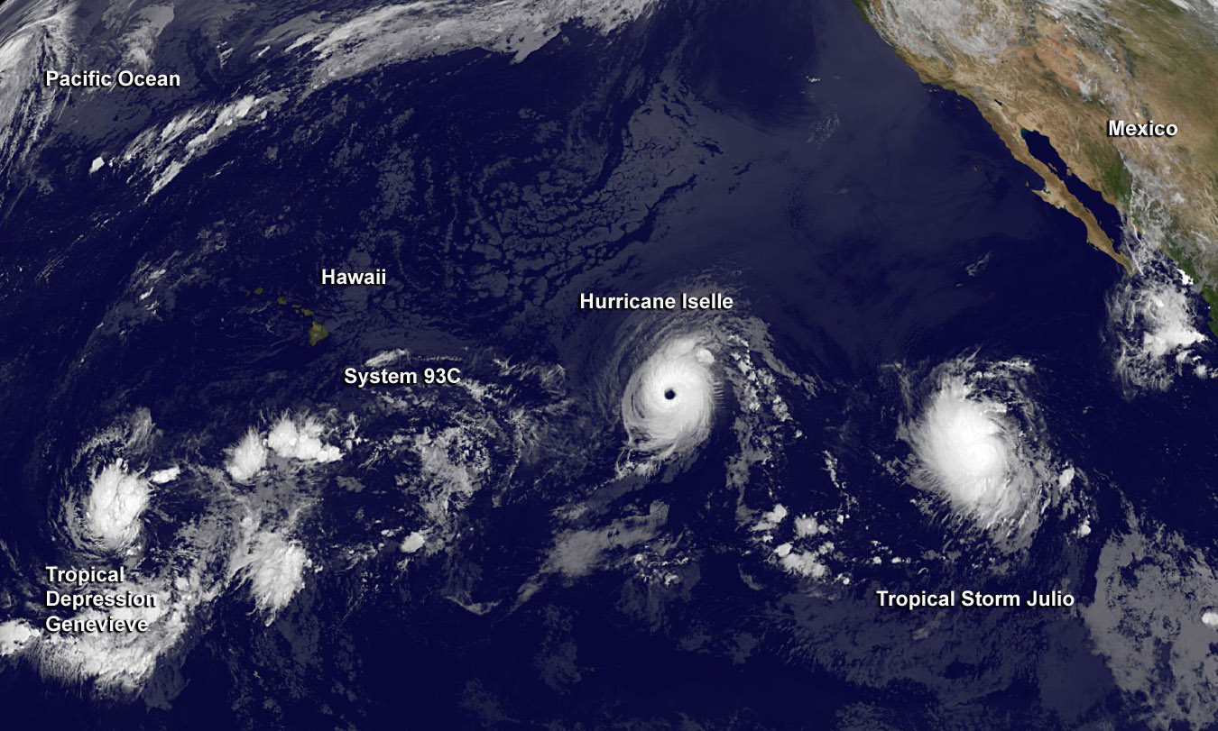 Satellite map showing the tracking of Genevieve, Iselle and Julio across the Pacific Ocean.