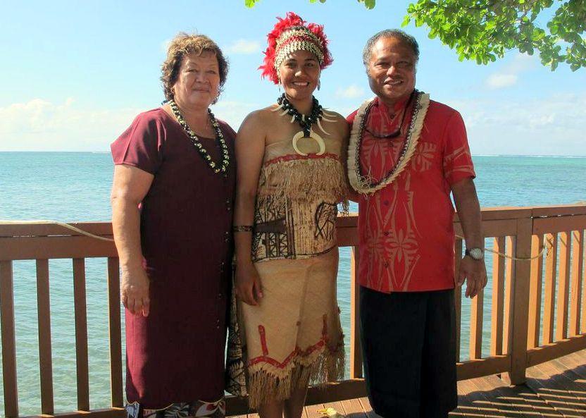 Celeste, Aunt Tina Tilo and Kālepa Baybayan pose for photo at water's edge.