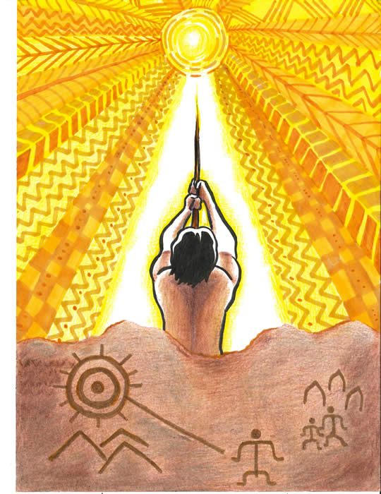 Graphic of Maui Conquering the Sun, bright yellows above and petroglyphs in rock below.