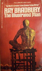 Book cover with solitary man seated, Ray Bradbury, The Illustrated Man