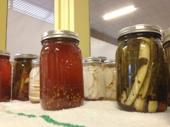 Some of the value-added products created by students. Jars of honey and pickles.