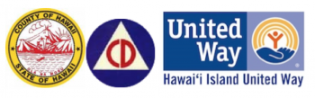 Logos and seals from County of Hawaii, State of Hawaii (yellow and red); Civil Defense (blue and red); and United Way Hawaii Island (blues and yellow).