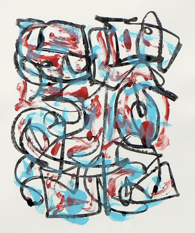 Arlene Farenci, Gesture in Dark Red and Light Blue, monotype, 2014. Click to enlarge.