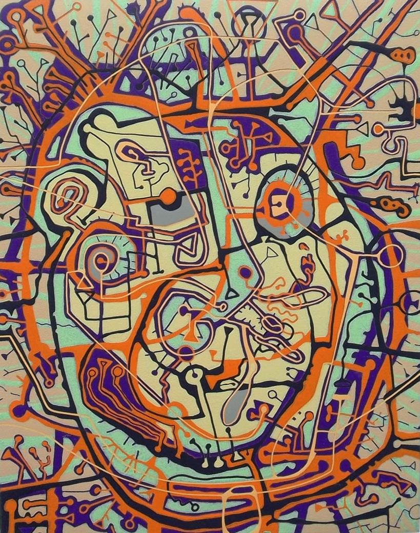 Modern graphic design in orange, purple, black, blue and green