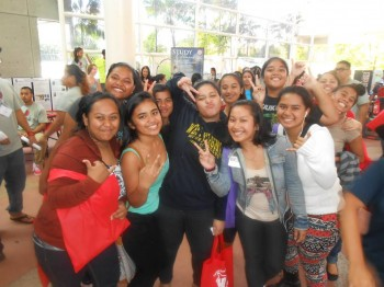 A group of high school students at the 2014 Pacific Islander Youth Career Day at UH Hilo. Click to enlarge.