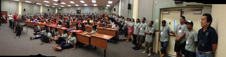 Mitch Roth address students in a lecture hall at UH Hilo. Click to enlarge.