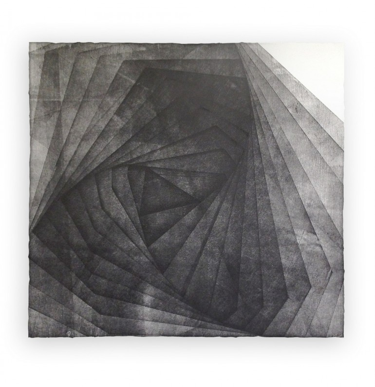 Kamran Samimi, Erosion, woodblock relief print, 2014