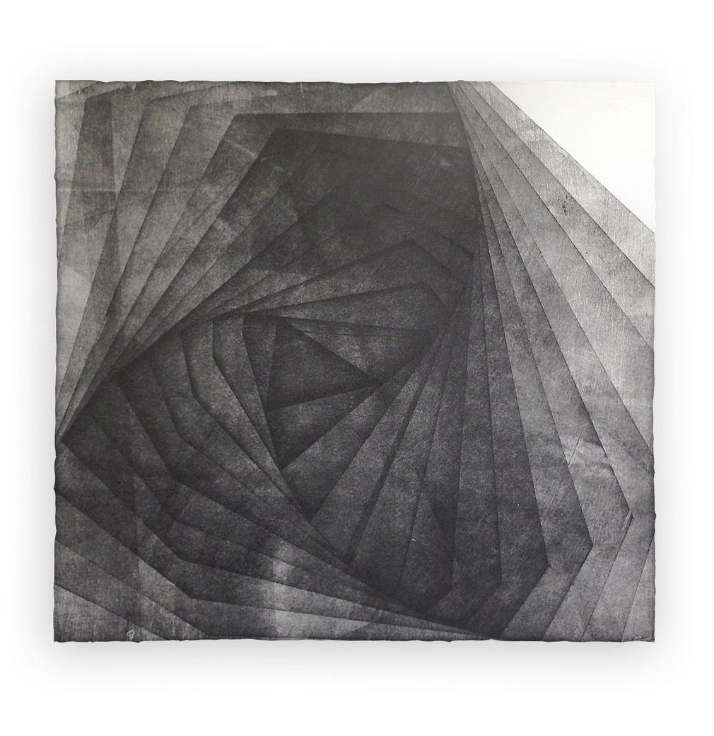 Dark geometric spiraling into triangles.
