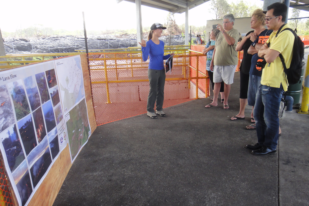 Liliana Desmither of the Center for the Study of Active VolcanoesSAV answers questions from visitors