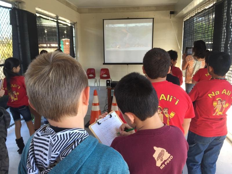 Children gather to watch slideshow about lava flow.