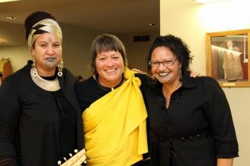 Manulani Aluli-Meyer, Benita Tahuri, and Waylyn Tahuri-Whaipakanga.