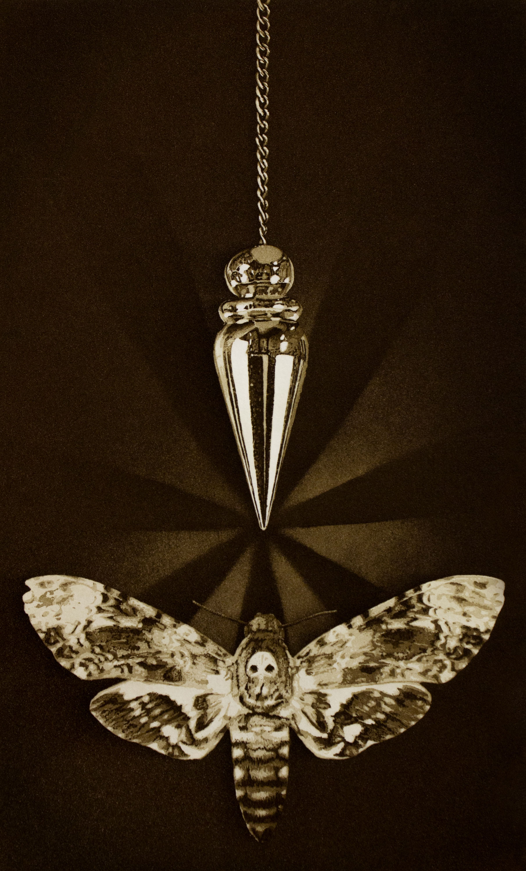 Print: A pendulum hanging over a moth. Sepia tones.