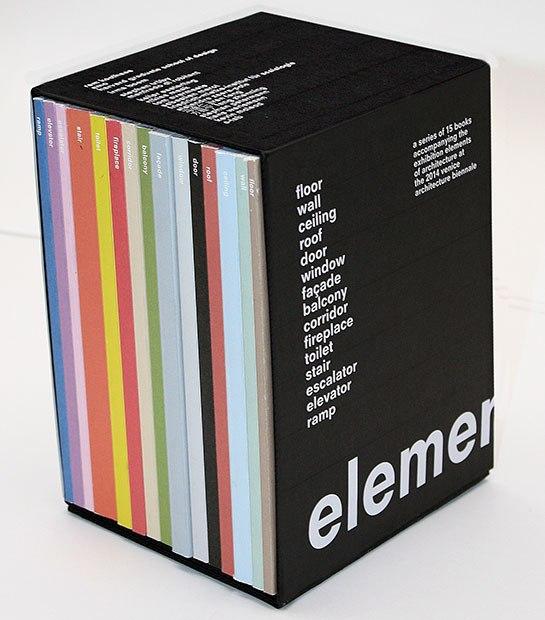 Boxed set of books with words: Element, floor, wall, ceiling, roof, door, window, facade, balcony, corridor, fireplace, toilet, stair, escalator, elevator, ramp.