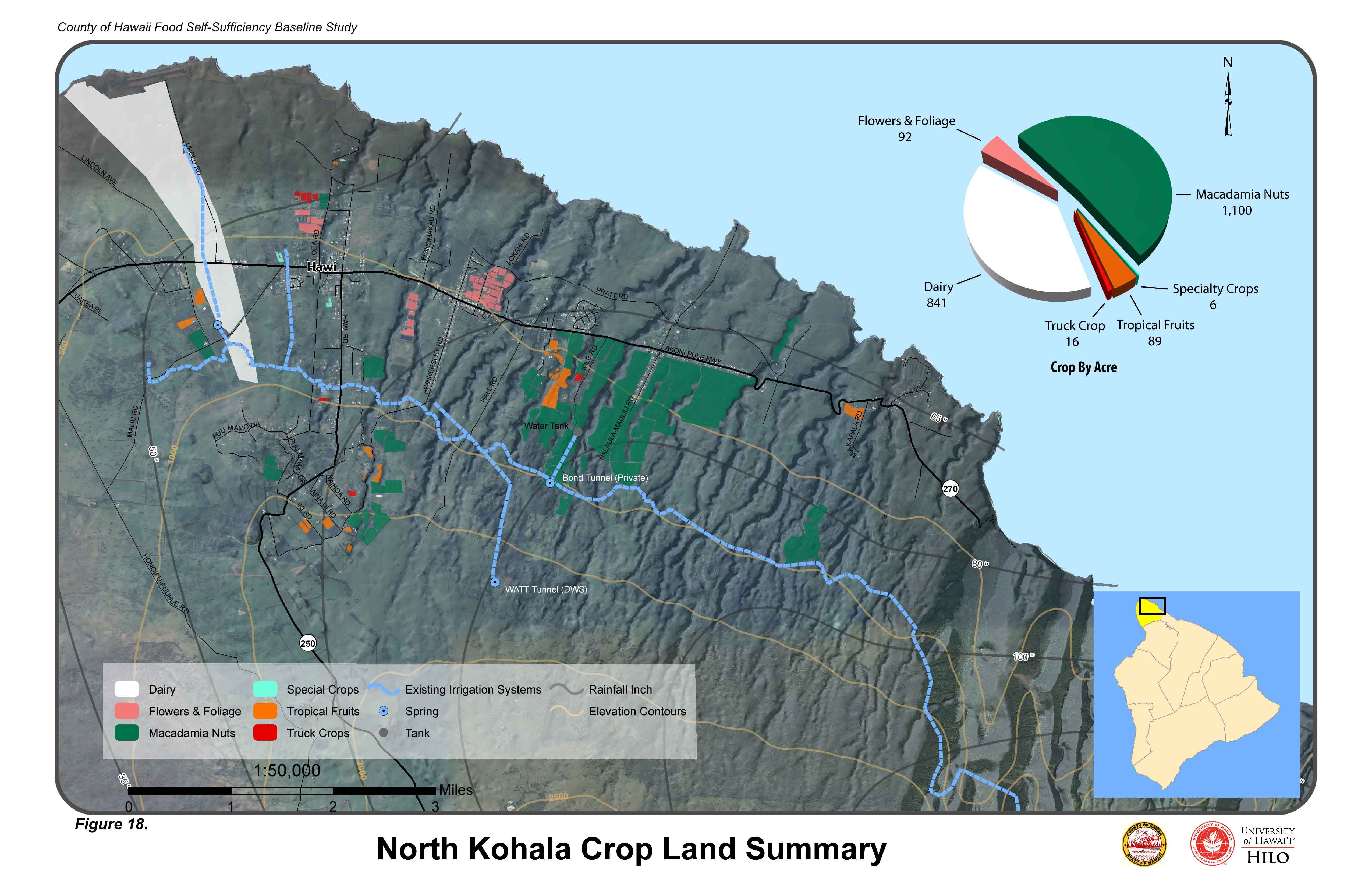 Detailed map of North Hawaii Island, with color coded sections designating flowers, foliage, mac nuts, dairy, crops, fruits, specialty crops.