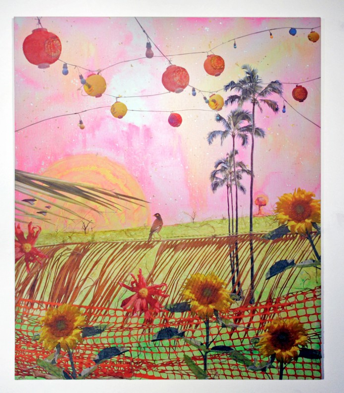 Hanging lanterns, sunflowers, a lone person in a field, netting.