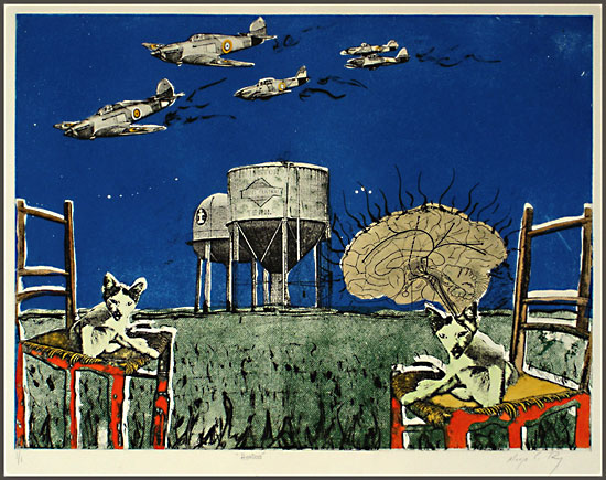 Painting of silos, airplanes, two cats on chairs, field.