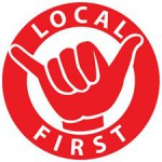 The logo for Local First is red. It has a circle of red with a hand in the center making the shaka.