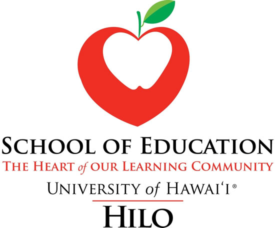 School of Education logo with white heart inside red apple: The Heart of Learning Community, University of Hawaii at Hilo.