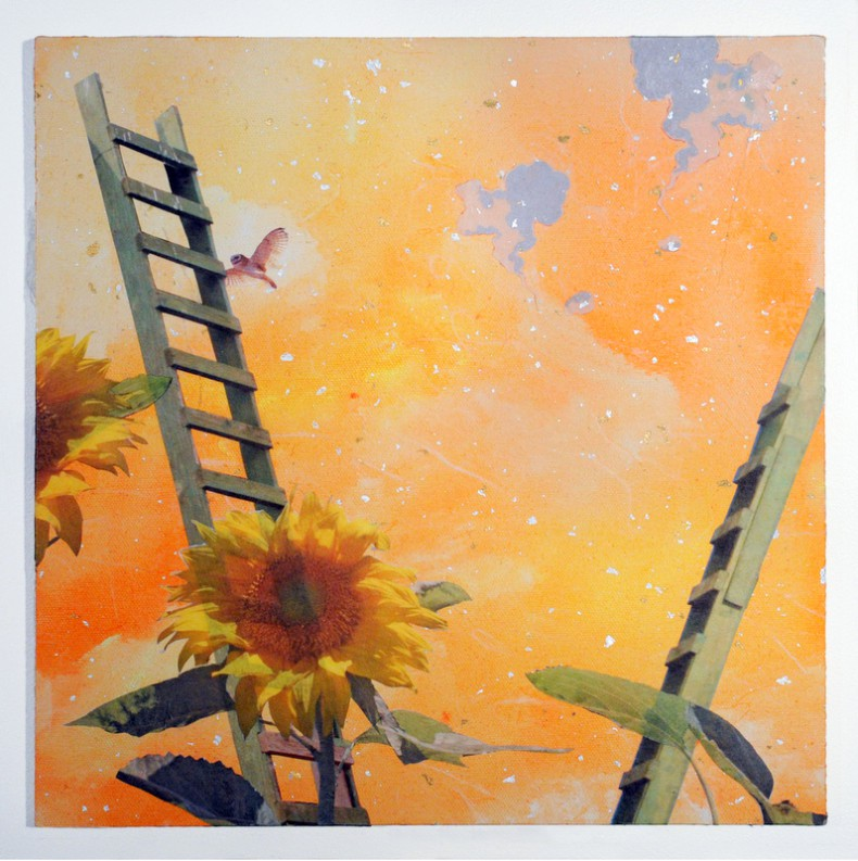 Painting of ladder and hummingbird, sunflowers. oranges, greens and yellow.