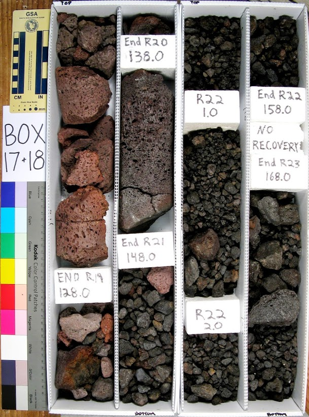 Box of core samples, lava rock colored reds and blacks, each section labeled: Box 17+18, END R19 128.0, End R20 138.0, End R21 148.0, R22 1.0, R22 2.0, End R22 158.0, NO RECOVERY End R23 168.0.