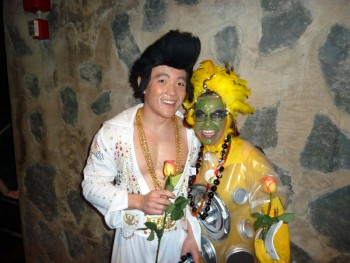 In costume: Backstage: (l-r) Hawai'i Community College student Keone Kalawe as Elvis Jesus Kailikoa Moses Napoleon and UH Hilo astronomy major Emily Peavy as Alien #3.