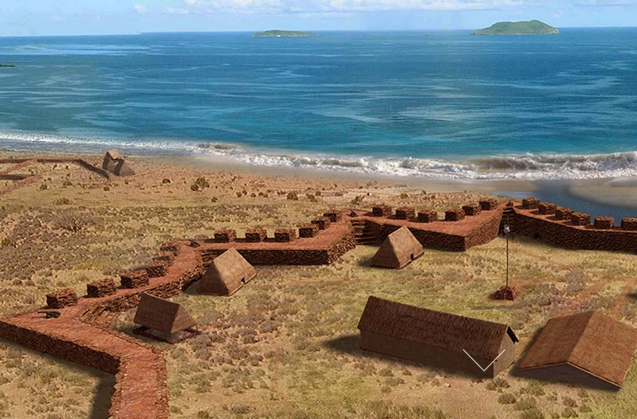 Computer generated photo of Russian Fort Elizabeth, Kauaʻi. Russian Fort Elizabeth, Kauaʻi.