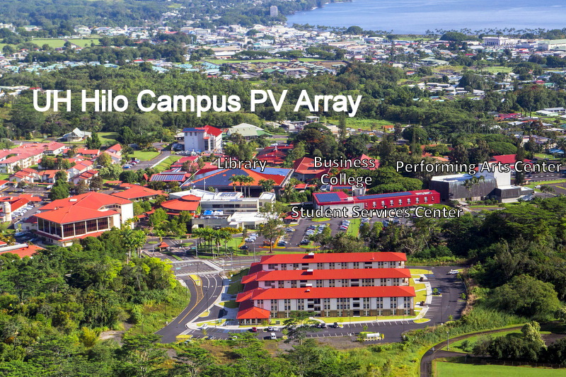 Aerial view showing PV Array buildings. Labels: UH Hilo Campus PV Array. Library; Business College; Performing Arts Center; Student Services Center.