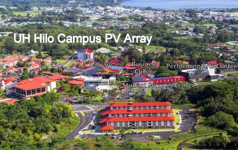 Aerial of PV array buildings.