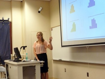 Shantel Geringer at podium, points to her powerpoint slide.