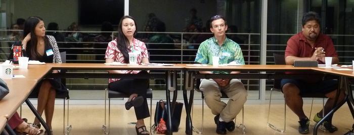 Professional Mentor Panel (l-r) Kesha Kubo, Ashley De Mattos, Alexander Kay-Wong, and Gaylen Kalipi Photo bu Kara Nelson.