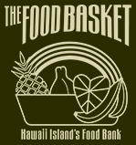 "Foodbasket logo with words ""The Foodbasket Hawaii Island's Food Bank. Graphic of fruit."