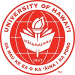 "UH Hilo seal, red lettering ""University of Hawaii at Hilo"" and state motto ""Ua Mau ke Ea o ka Aina i ka Pono."" Stylized flame and book at center, longitude and latitude lines that represent a global connection, with the date 1907."
