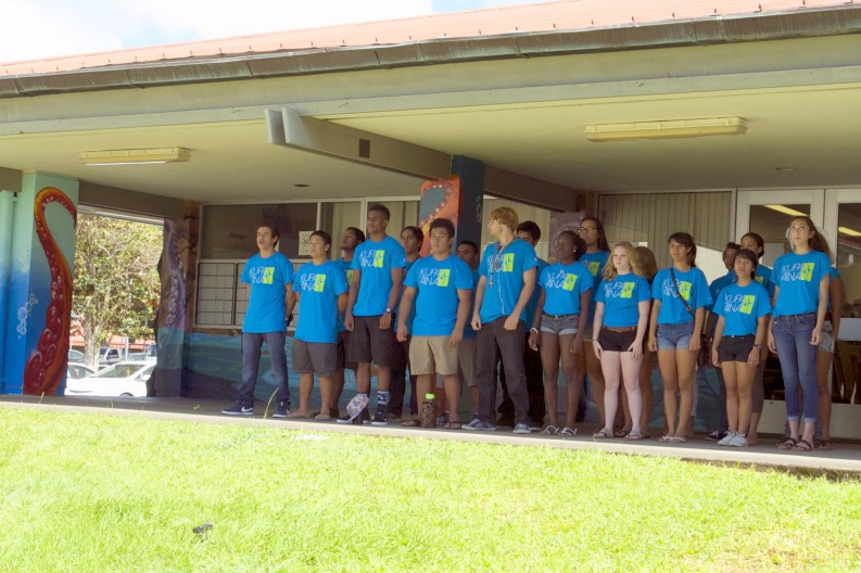 Group of students from the Kupa ʻĀina Summer Bridge Program. stand for photo at unveiling.