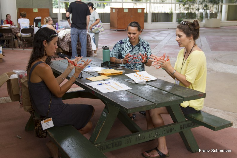 Small group doing string figures or hei at a table on Campus Center Plaza.