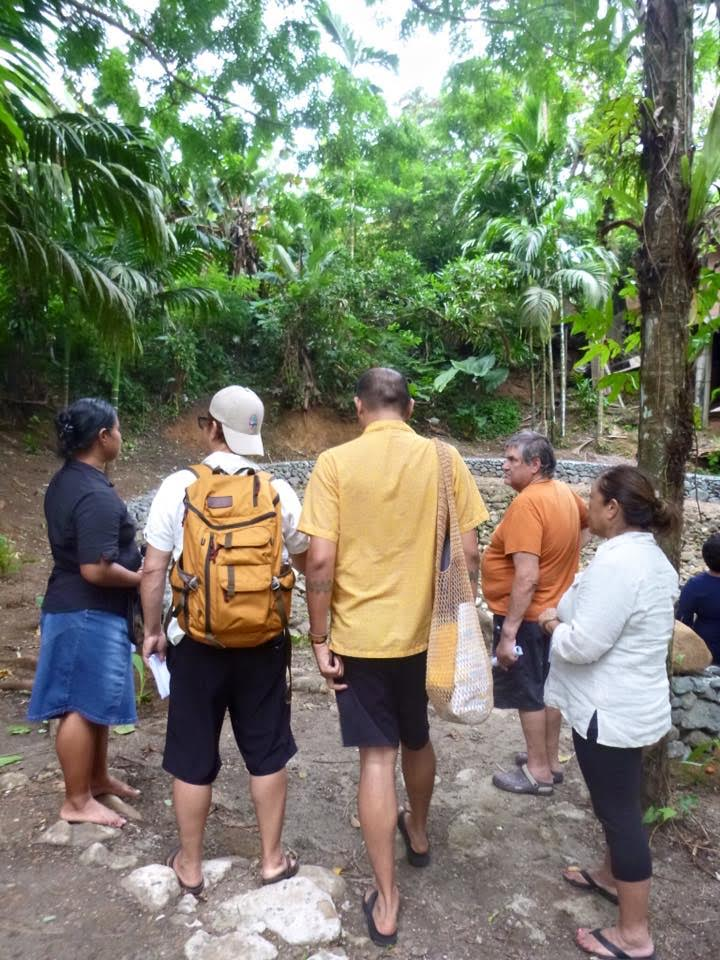 Group of five walk along rough and rocky pathway under palms.