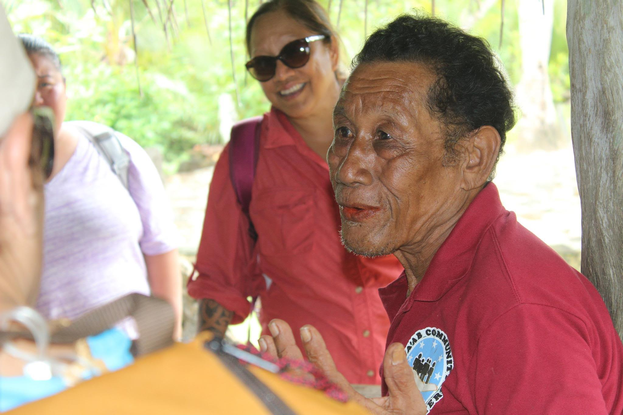 Maprine Ruechugrad discusses traditional Yapese dance and history, in the Village of Tomil, Yap.