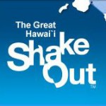 Shake Out Logo with the words: The Great Hawaii Shake Out. Blue.