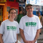 Two people with USGS t-shirts.
