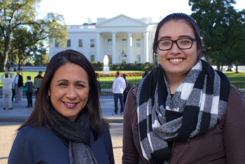 Kaiu Kimura and Alexis-Ann Acohido in front of the White House, DC.