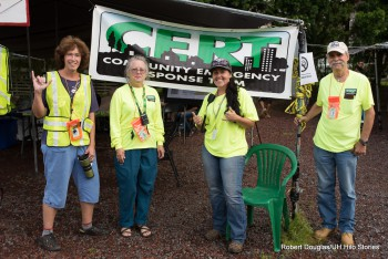 Community Emergency Response Team in yellow t-shirts.
