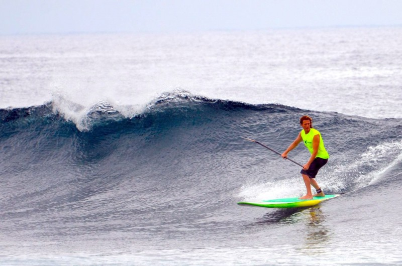 Prof. Barkhoff at his home surf spot Pohoiki in Puna, stand up surfing.