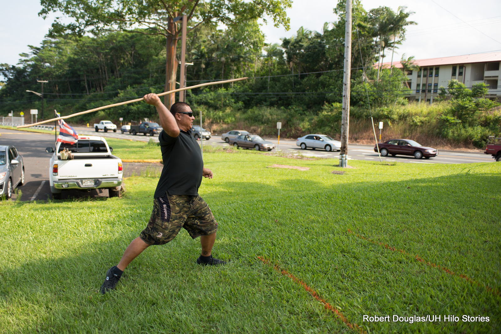Spear throwing.