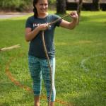 Woman preparing for rope game.