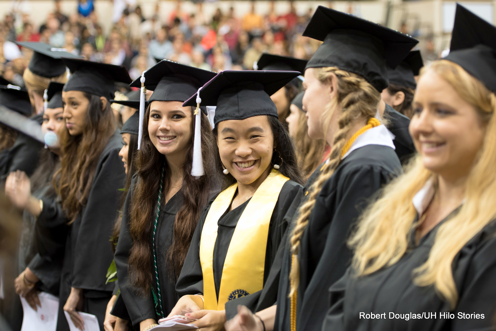 Happy candidates at 2015 Fall Commencement.