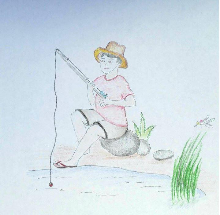 Illustration of Kimo fishing.