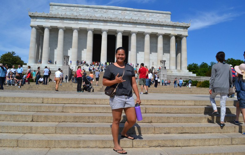 Pelenatete Leilua standing in front of the Lincoln Memorial, Washington, D.C.